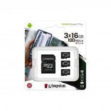 Memory card Kingston Canvas Select Plus Multi pack 3 x microSDHC 16GB, Class 10 UHS-I