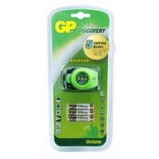 Headlamp / Lantern with light GP BATTERIES LOE201AU, 4 x LED, Green/Black
