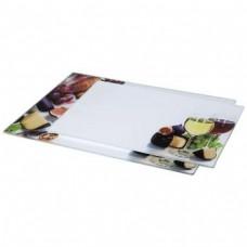 "Glass Cutting Plates, 2 pieces, ""Wine"" design, 30 x 20 cm, 35 x 25 cm"