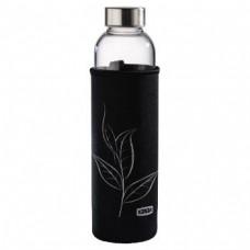 Glass Drinking Bottle with Sieve and Neoprene Sleeve, 500 ml, black
