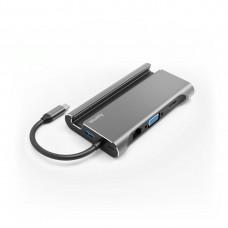 Hama 7-in-1 USB-C Docking Station for 3x USB-A 3.1, HDMI™, VGA, LAN, USB-C (PD), Grey