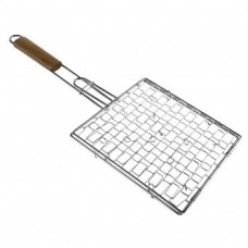Grilling Basket, coated, with wooden handle, 25 x 25 cm