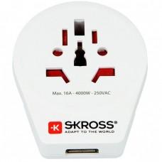 World Adapter Skross 220V, World to Europe + USB, SKROSS-1500260
